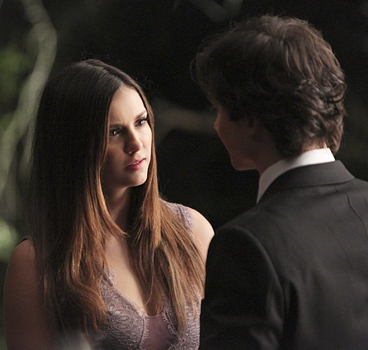 """The Vampire Diaries - """"I'm Thinking of You All The While""""- Image Number: - Pictured (L-R): Nina Dobrev as Elena and Ian Somerhalder as Damon (back to camera) - Photo: Annette Brown/The CW - © 2015 The CW Network, LLC. All rights reserved."""