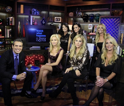 "October 15, 2010<br /> Watch What Happens Live - ""Guests: The Real Housewives of Beverly Hills"" - Pictured: (l-r) Andy Cohen, Camille Grammer, Lisa VanderPump, Kyle Richards, Adrienne Maloof, Taylor Armstrong, Kim Richards Photo by: Heidi Gutman/Bravo<br />"