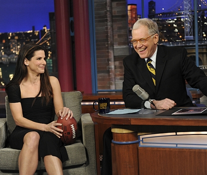 LATE SHOW -- Actor Sandra Bullock on the LATE SHOW with DAVID LETTERMAN on Monday, Feb. 8 (11:35 PM-12:37 AM, ET/PT) on the CBS Television Network. Photo: Heather Wines/CBS @2010 CBS Broadcasting Inc. All Rights Reserved