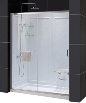 "DreamLine Infinity-Z Shower Door, 36"" by 60"" Shower Base Center Drain and QWALL-5 Shower Backwall Kit, DL-6119C-04CL - Amazon.com"