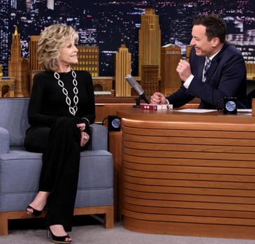 Jane Fonda - THE TONIGHT SHOW STARRING JIMMY FALLON -- (Photo by: Douglas Gorenstein/NBC) Wednesday, May 07 on NBC (11:35 p.m.-12:35 a.m.) - NBC - All Rights Reserved