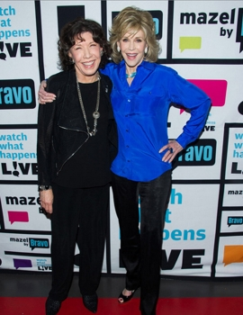 Lily Tomlin & Jane Fonda - May 15, 2015 - WATCH WHAT HAPPENS LIVE -Pictured: (l-r) Lily Tomlin,  Jane Fonda - (Photo by: Charles Sykes/Bravo)<br /> 2014 Bravo Media, LLC