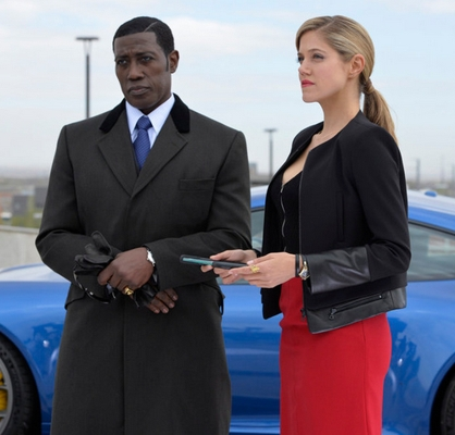 THE PLAYER -- Pilot -- Pictured: (l-r) Wesley Snipes as Johnson, Charity Wakefield as Cassandra King -- (Photo by: Gregory E. Peters/NBC)