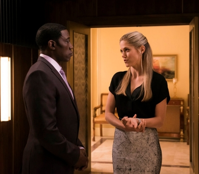 (l-r) Wesley Snipes as Mr. Johnson, Charity Wakefield as Cassandra -- (Photo by: Brandon Hickman/NBC)