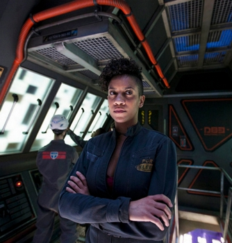 "THE EXPANSE -- ""Retrofit"" Episode 106 -- Pictured: Dominique Tipper as Naomi Nagata -- (Photo by: Rafy/Syfy) 2014 Syfy Media, LLC"