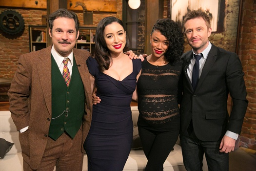 Christian Serratos' Dead Hair - Paul F. Tompkins, Christian Serratos, Sonequa Martin-Green and Chris Hardwick - Talking Dead _ Season 4, Episode 7 - Photo Credit: Jordin Althaus/AMC