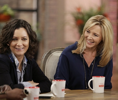 "Lisa Kudrow's Hair Aging With Class - Lisa Kudrow on ""The Talk,"" July 29, 2015 on CBS Television Network. Sara Gilbert & Lisa Kudrow, (L-R). Photo: Sonja Flemming/CBS ©2015 CBS Broadcasting, Inc. All Rights Reserved"