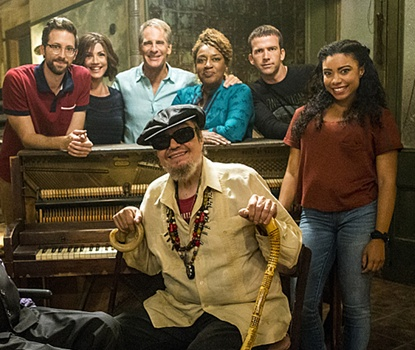 Natural Curl Hair Flat Top - NCIS: NEW ORLEANS - Pictured L-R: Rob Kerkovich, Zoe McLellan, Scott Bakula, Grammy Award-winning artist Dr. John, CCH Pounder, Lucas Black, and Shalita Grant Photo: Skip Bolen/CBS ©2015 CBS Broadcasting, Inc. All Rights Reserved