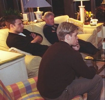 """Astrological Secrets Of Bennifer 2021 - Ben Affleck - January 11, 1998: President Clinton and Hillary Rodham Clinton hosting a screening of """"Good Will Hunting"""" at Camp David<"""