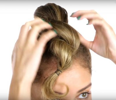 Easy Curly Twisted Hair Knot