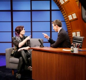 June 4, 2014 -  LATE NIGHT WITH SETH MEYERS -- Episode 0055 -- Pictured: (l-r) Musical guest Demi Lovato during an interview with host Seth Meyers on June 4, 2014 -- (Photo by: Lloyd Bishop/NBC)