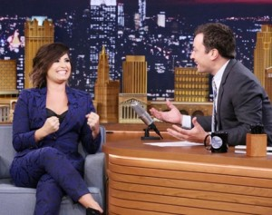Demi Lovato - THE TONIGHT SHOW STARRING JIMMY FALLON - August 15, 2014- (Photo by: Douglas orenstein/NBC) Friday, August 15 on NBC (11:35 p.m.-12:35 a.m. ET) 2014 NBCUniversal Media, LLC