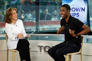 "TODAY -- Pictured: (l-r) Meredith Vieira, Chris Rock -- ""Today"" show co-host Meredith Vieira talks with Chris Rock about his new movie ""Grown Ups"" on the ""Today"" show -- Photo by: Peter Kramer/NBC Thursday, June 24 on NBC (7-11 a.m ET)"