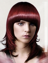 Medium Layered Merlot Colored Haircut With Full Asymetrical Fringe