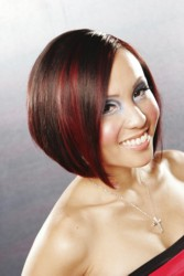 Shoulderlength Sleek Bob Hairstyle With Side Part And Highlights & Lowlights