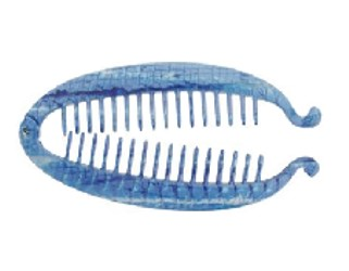 Oval Shaped Banana Lock Comb In Blue Reptile Color