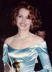 Geena Davis With Wavy Side Swept Bangs