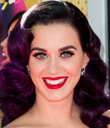 Katy Perry With Long Plum S Wave Hairstyle