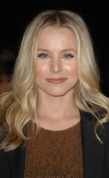 Kristen Bell With White Blonde Long Waves