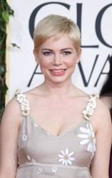 Michelle Williams With Short Side-Swept Platinum Pixie Haircut