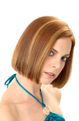 Medium Length Bob Hairstyle With Off Center Part