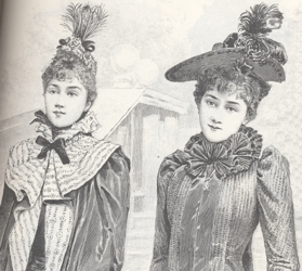 Full Forehead Covering Bangs in 1892 - Victorian FAshions & Costumes From Harper's Bazaar - 1967 - 1898 - Stella Blum - Dover Publications