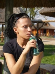Model Drinking Can Of Diet Soda