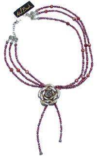 Michele Busch - Necklace - Three Strand Wine Pearl w/Sterling Flower