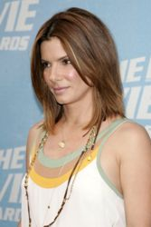 Sandra Bullock With Chocolate Brunette Hair With Center Part
